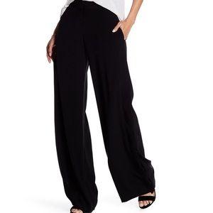 DKNY 8 Black Side Slit Button Wide Leg Pants